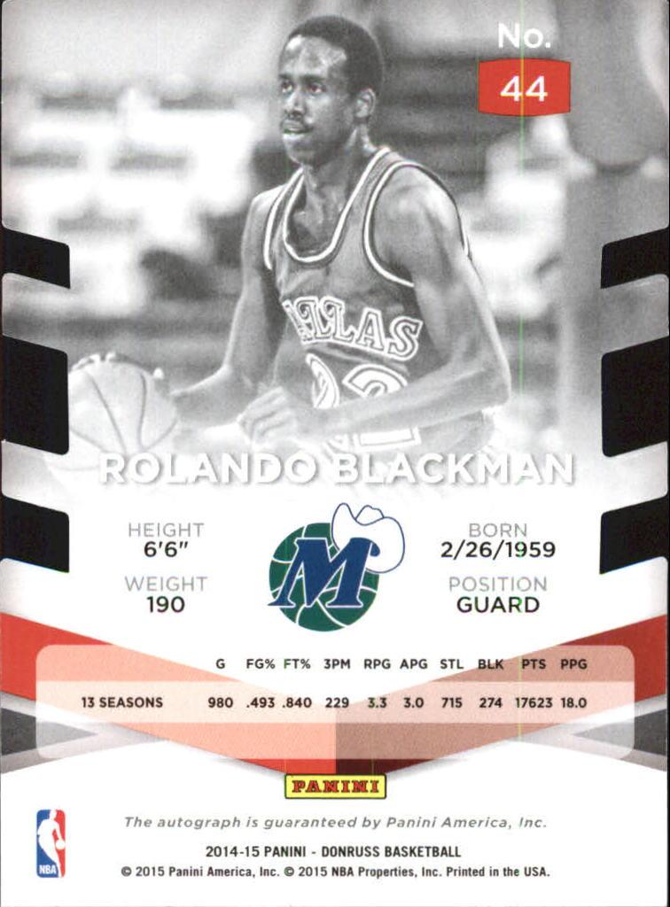2014-15 Elite Status Signatures Purple #44 Rolando Blackman back image