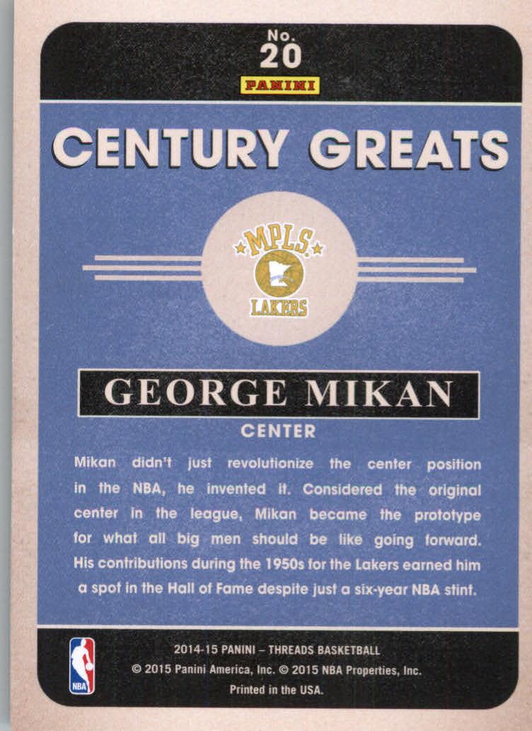 2014-15 Panini Threads Century Greats #20 George Mikan back image