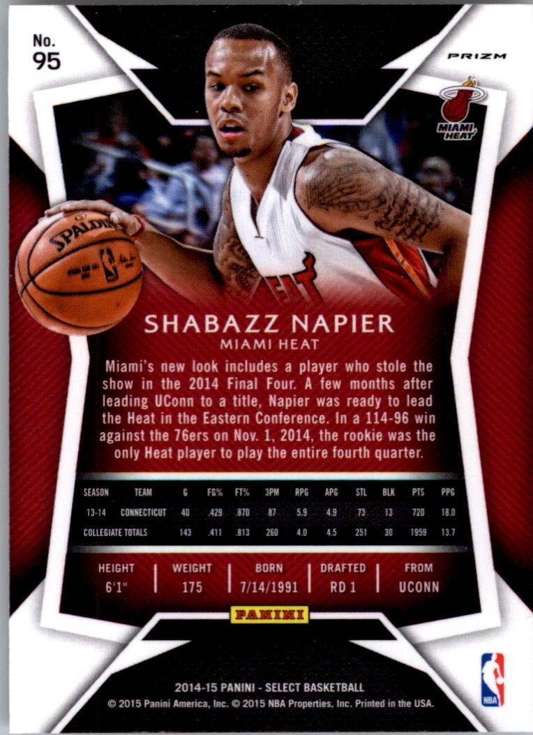 2014-15 Select Prizms Silver #95 Shabazz Napier CON back image