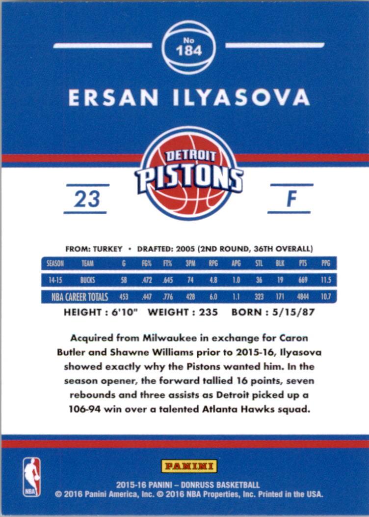 2015-16 Donruss #184 Ersan Ilyasova back image