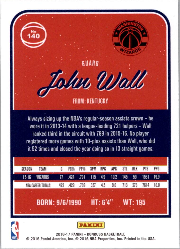 2016-17 Donruss #140 John Wall back image