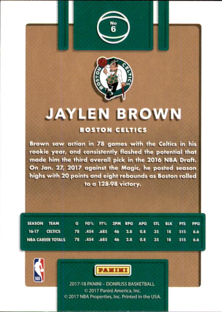 2017-18 Donruss #6 Jaylen Brown back image