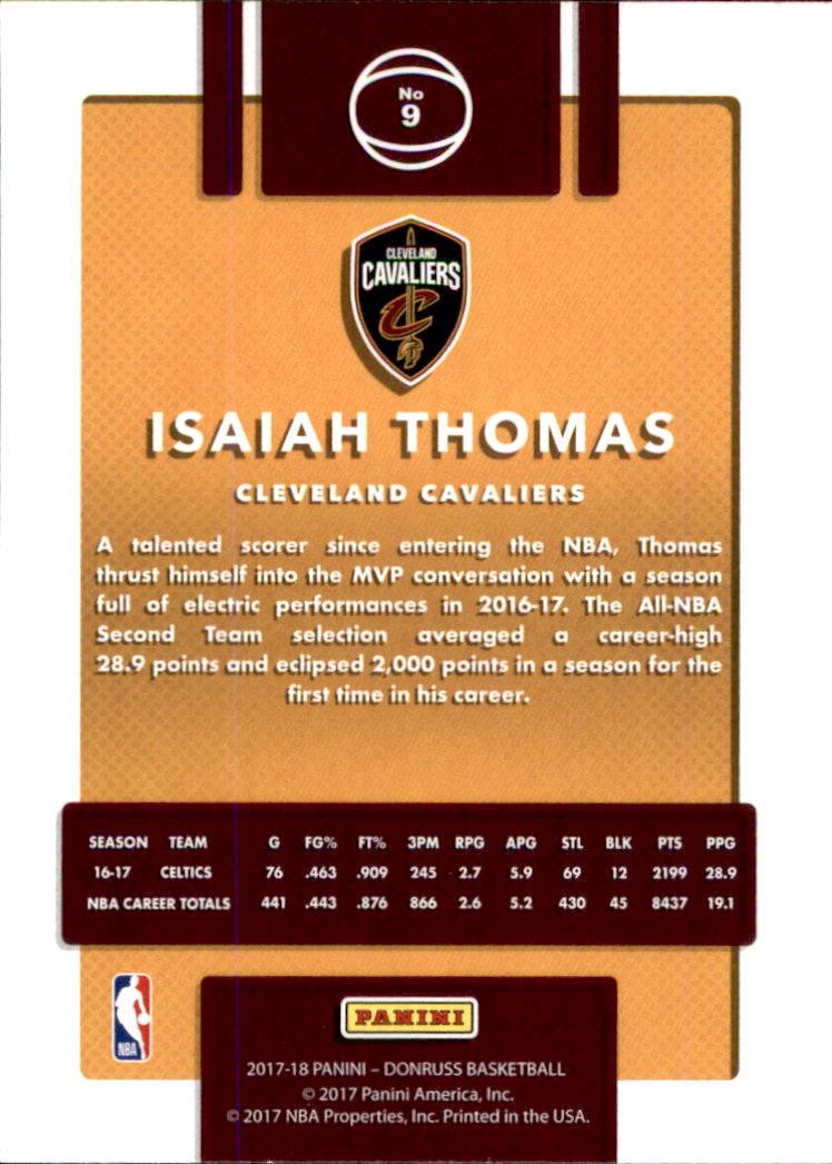 2017-18 Donruss #9 Isaiah Thomas back image