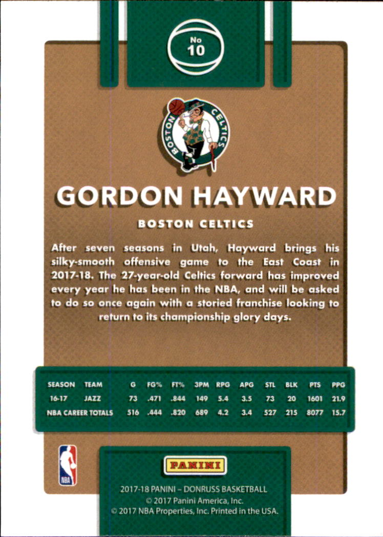 2017-18 Donruss #10 Gordon Hayward back image