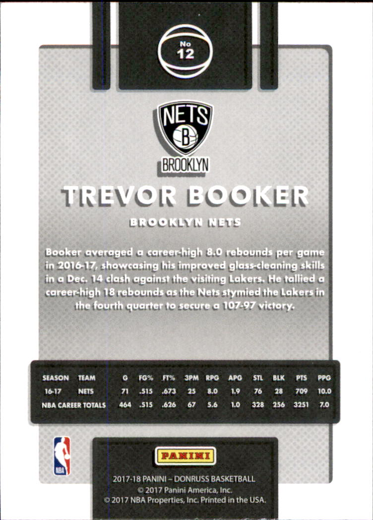 2017-18 Donruss #12 Trevor Booker back image