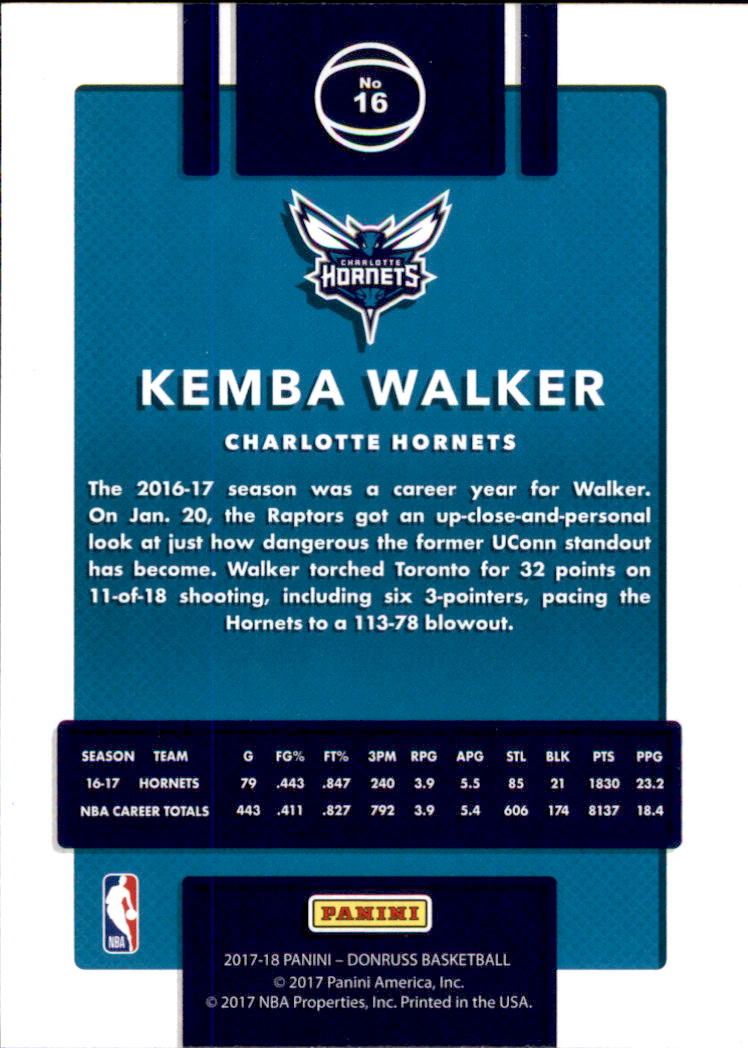 2017-18 Donruss #16 Kemba Walker back image