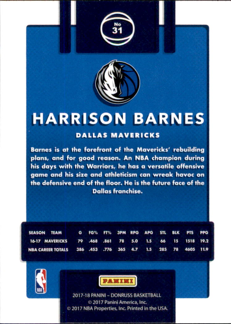 2017-18 Donruss #31 Harrison Barnes back image