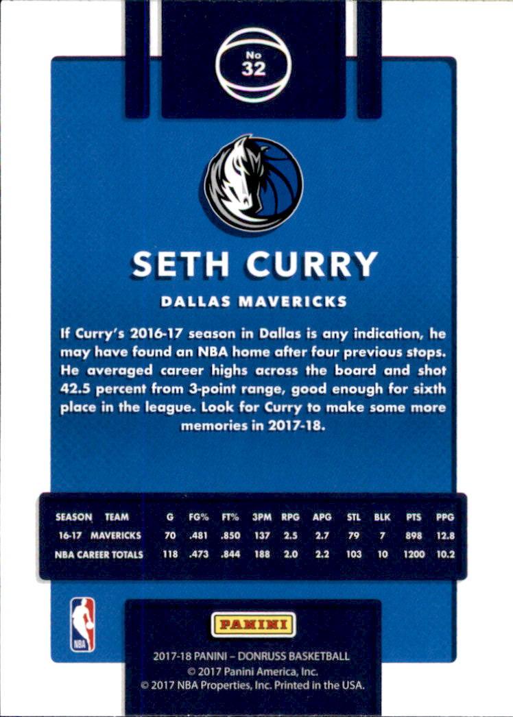 2017-18 Donruss #32 Seth Curry back image