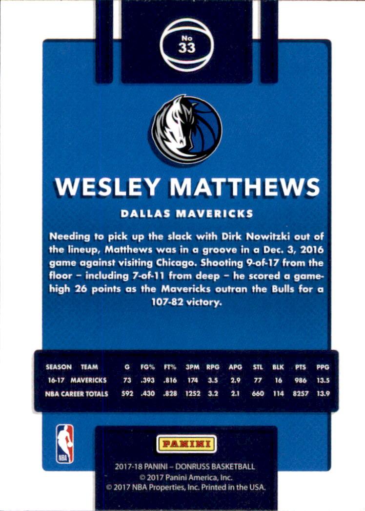 2017-18 Donruss #33 Wesley Matthews back image