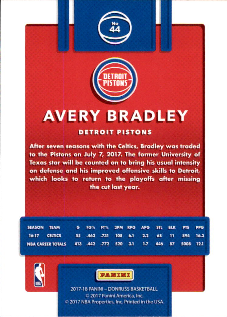 2017-18 Donruss #44 Avery Bradley back image