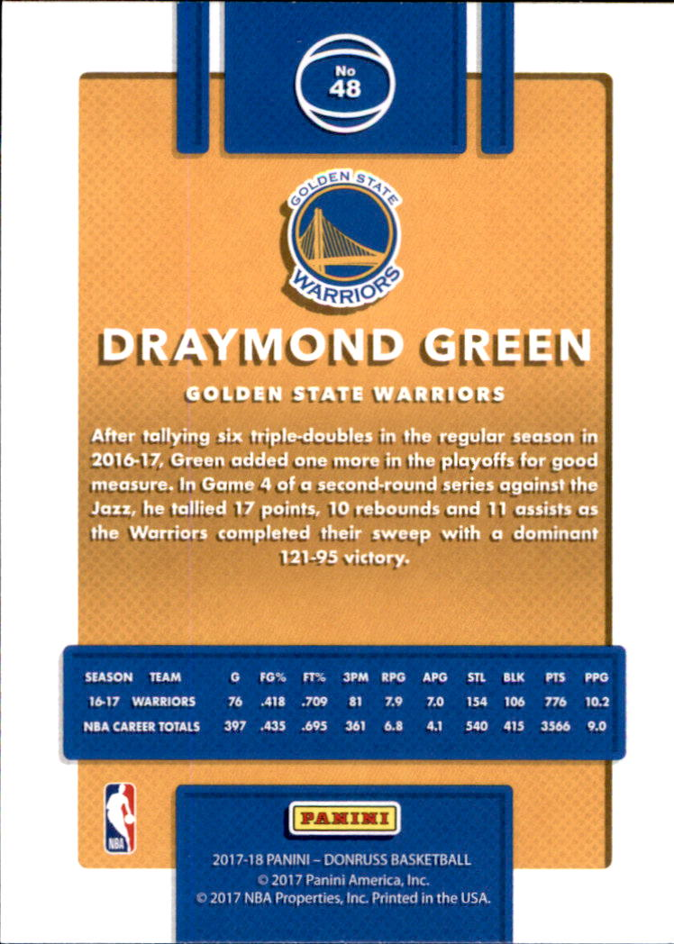 2017-18 Donruss #48 Draymond Green back image