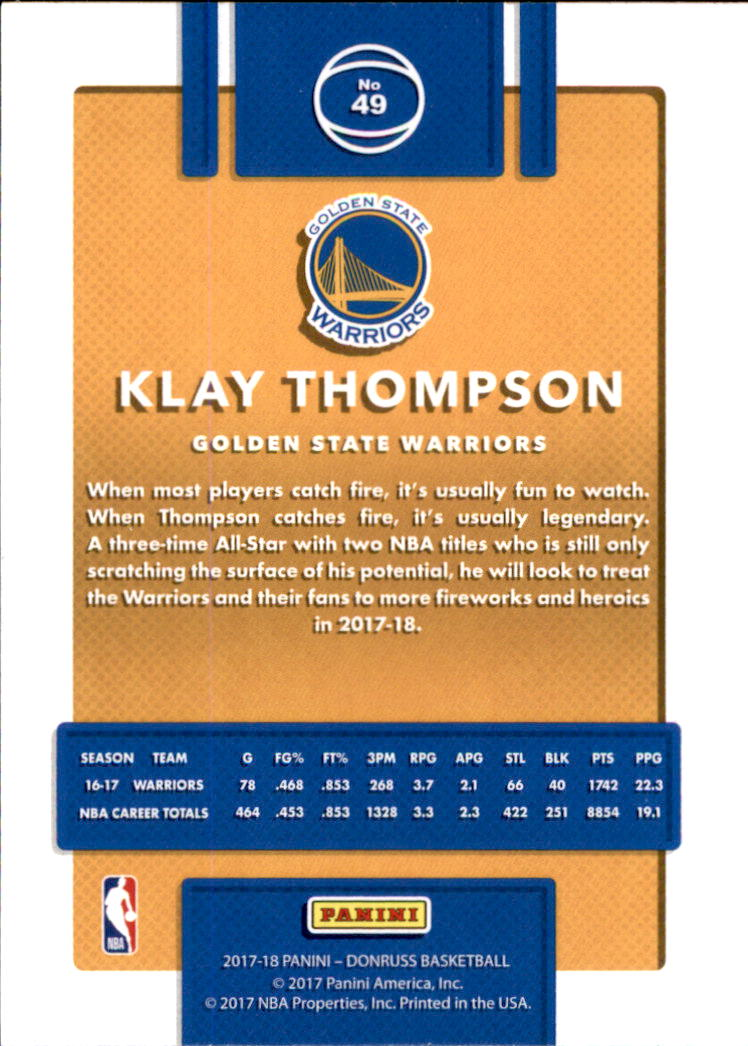 2017-18 Donruss #49 Klay Thompson back image