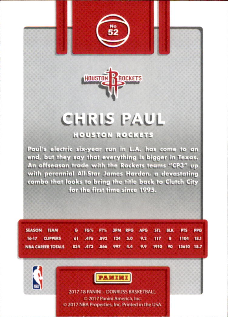 2017-18 Donruss #52 Chris Paul back image