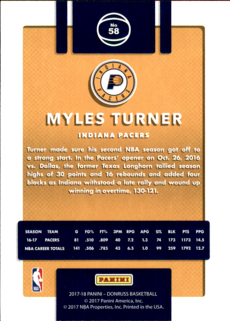 2017-18 Donruss #58 Myles Turner back image