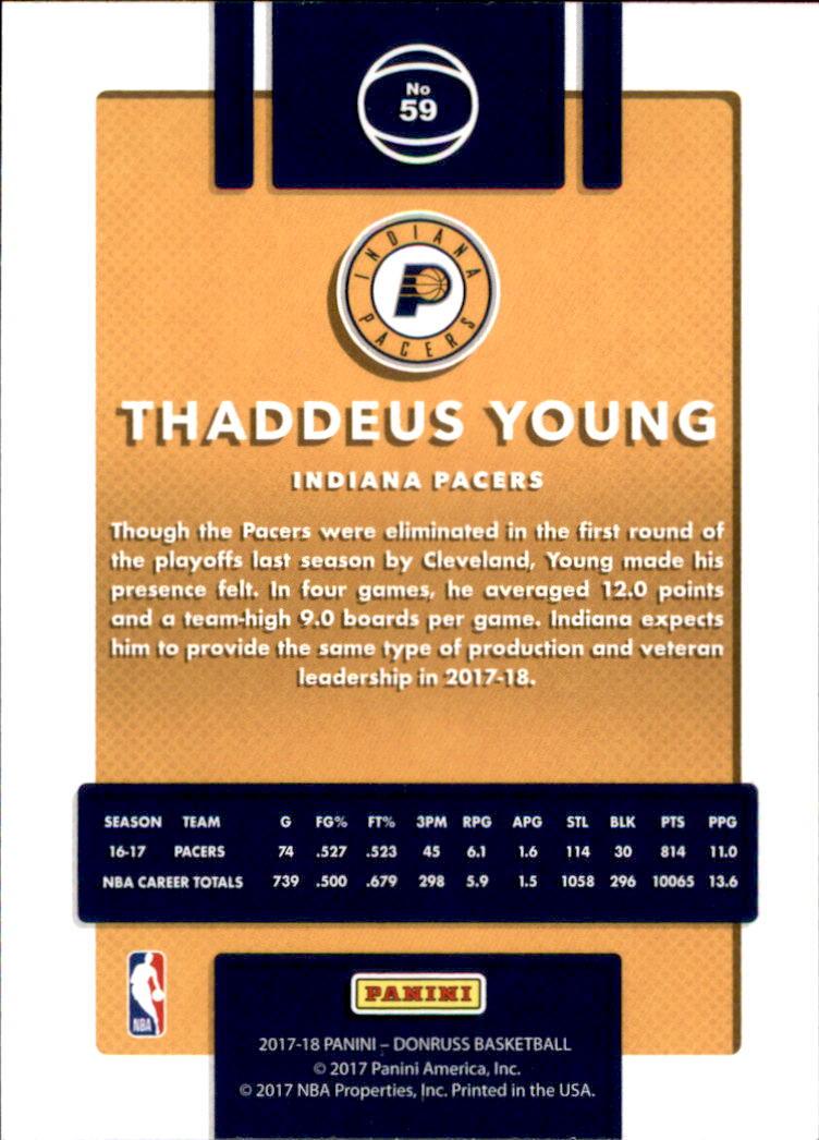 2017-18 Donruss #59 Thaddeus Young back image