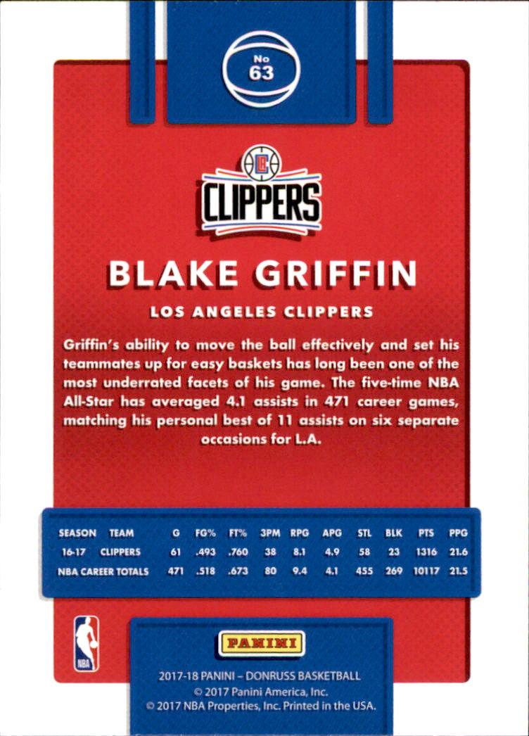 2017-18 Donruss #63 Blake Griffin back image