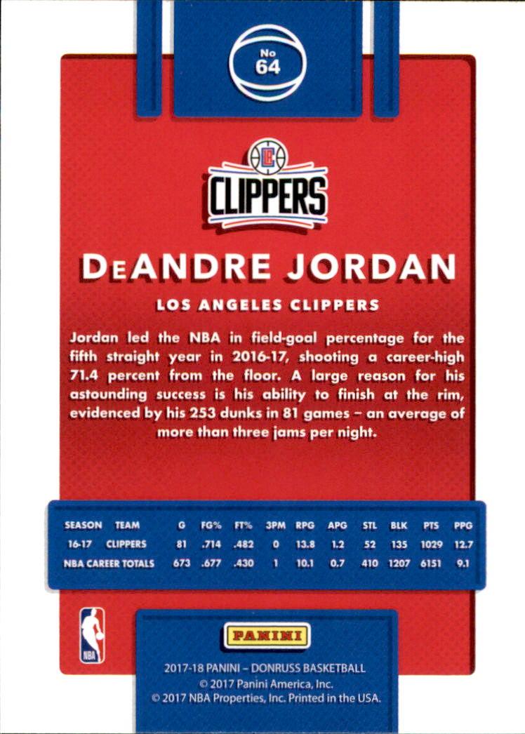 2017-18 Donruss #64 DeAndre Jordan back image
