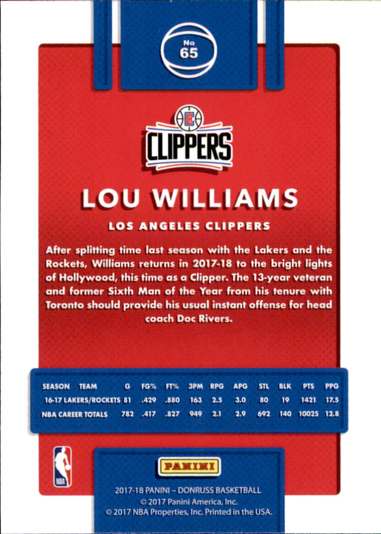2017-18 Donruss #65 Lou Williams back image