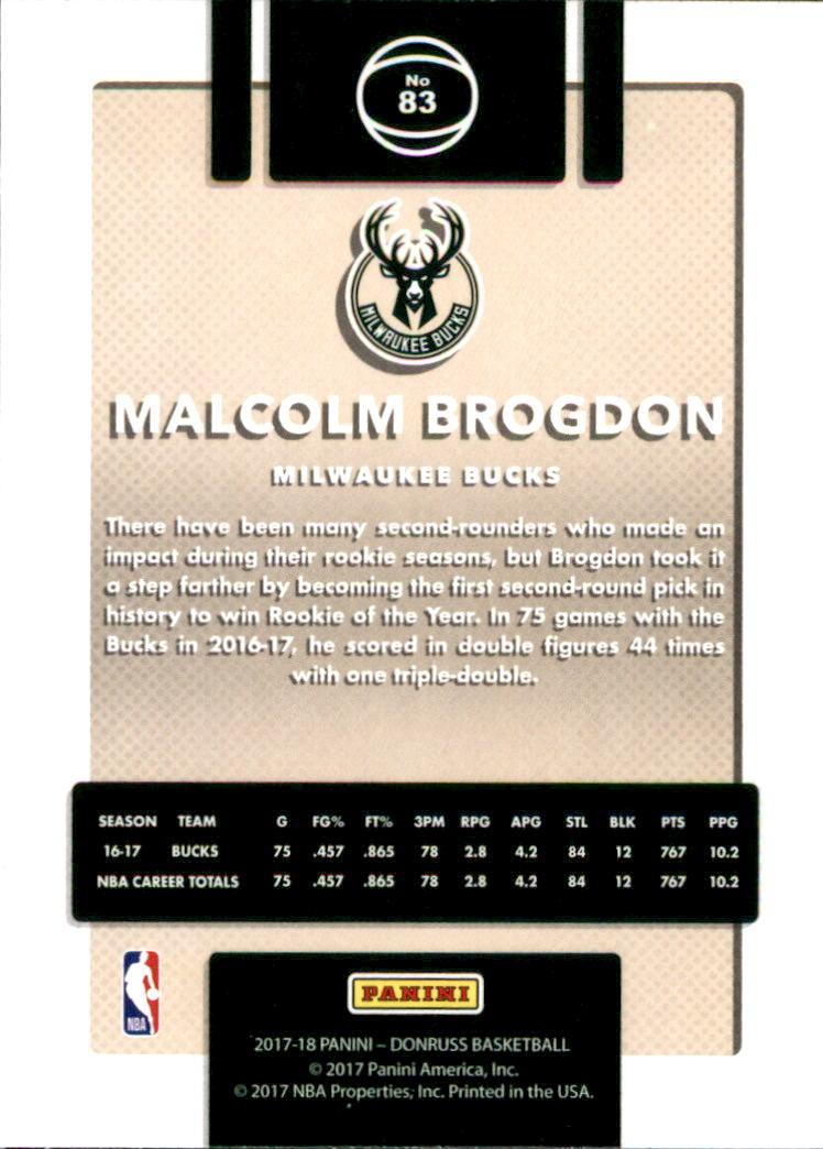 2017-18 Donruss #83 Malcolm Brogdon back image