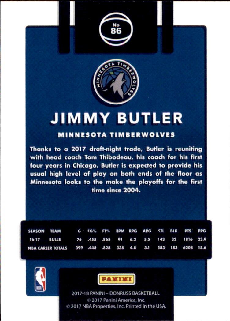 2017-18 Donruss #86 Jimmy Butler back image