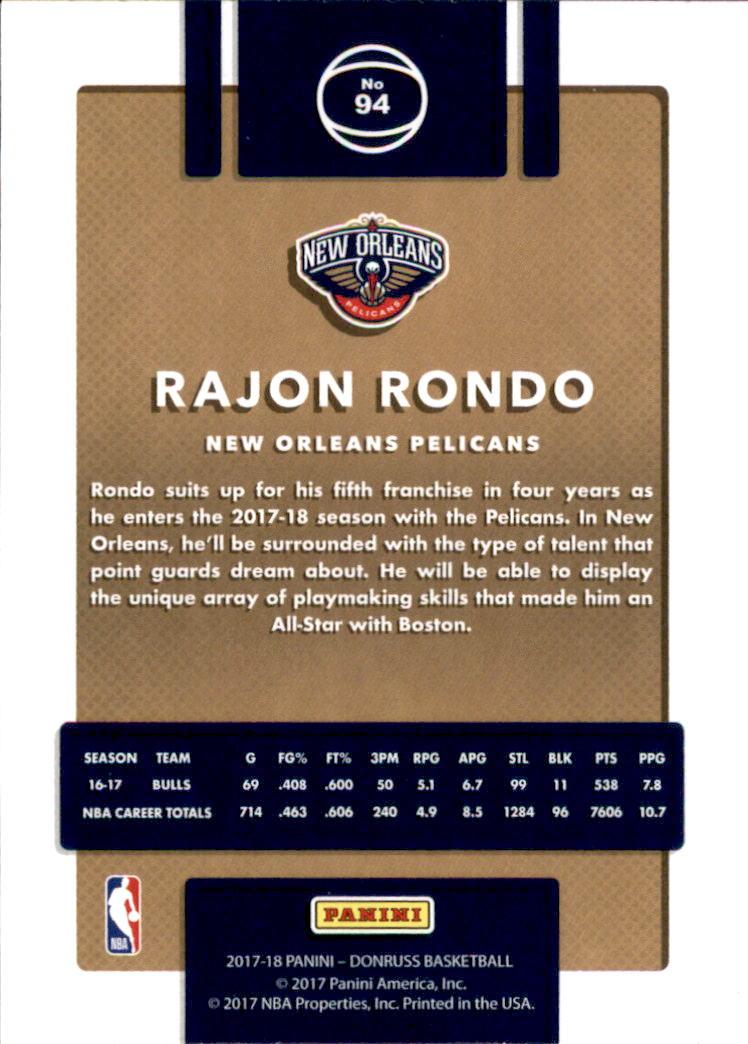 2017-18 Donruss #94 Rajon Rondo back image