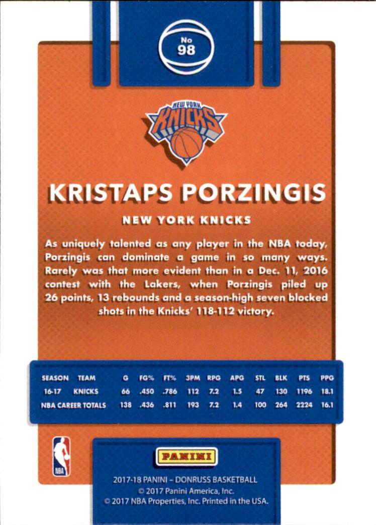 2017-18 Donruss #98 Kristaps Porzingis back image