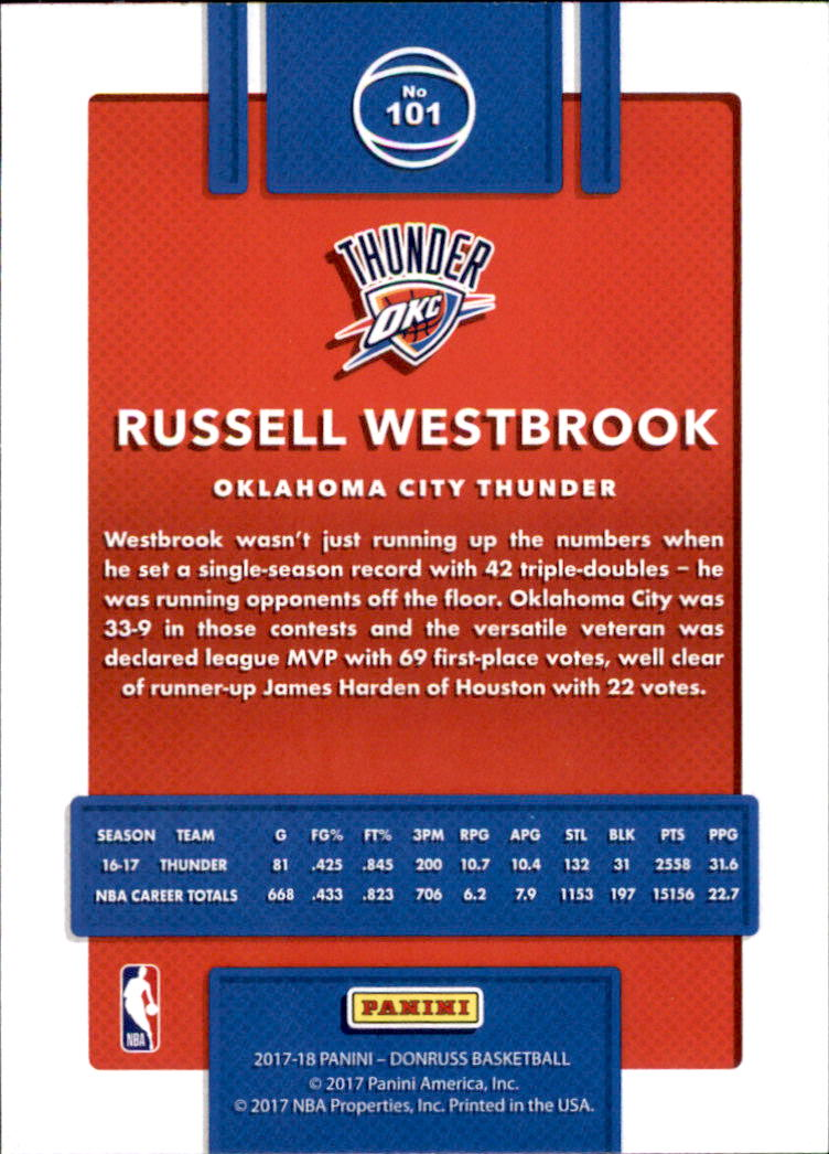 2017-18 Donruss #101 Russell Westbrook back image