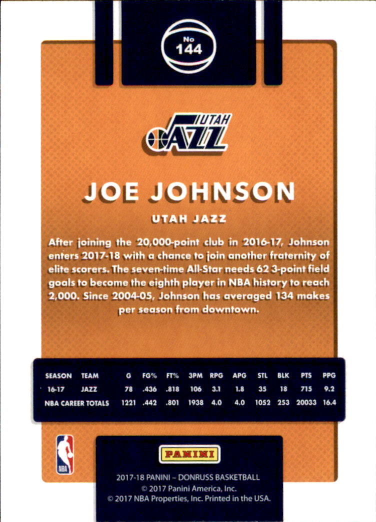 2017-18 Donruss #144 Joe Johnson back image
