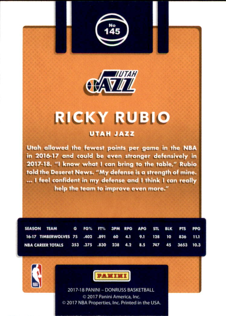 2017-18 Donruss #145 Ricky Rubio back image