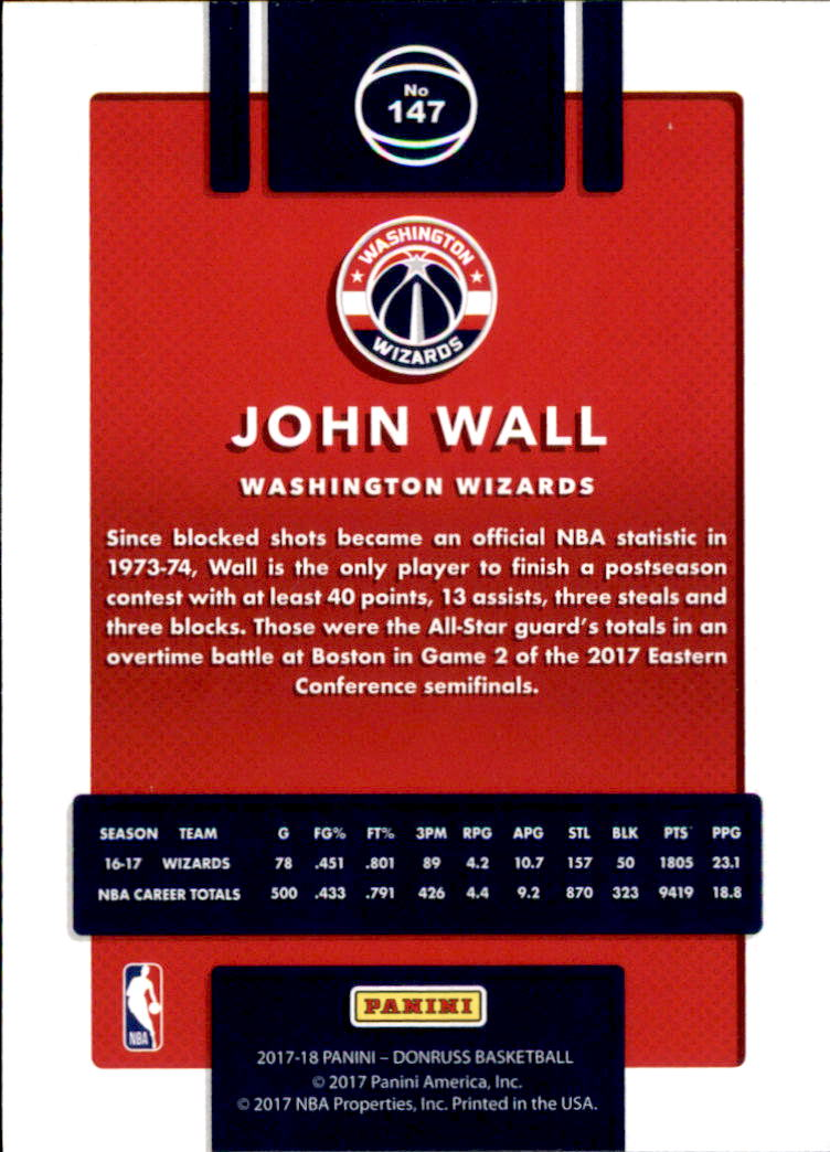 2017-18 Donruss #147 John Wall back image