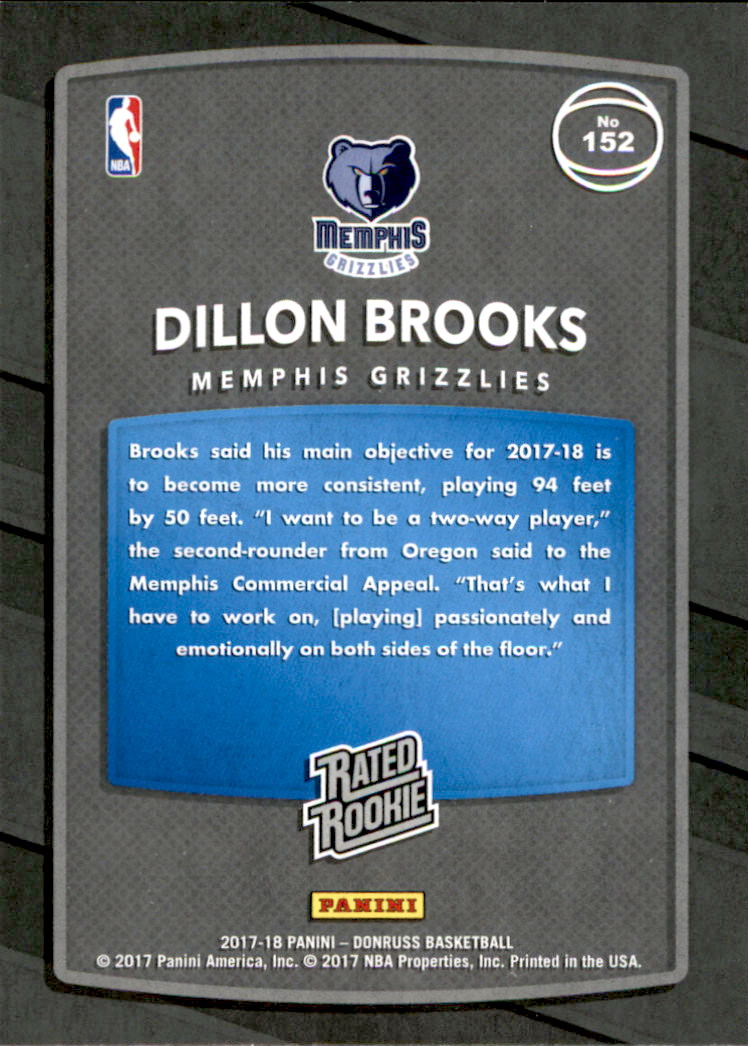 2017-18 Donruss #152 Dillon Brooks RR RC back image