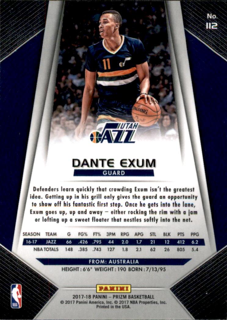 2017-18 Panini Prizm #112 Dante Exum back image
