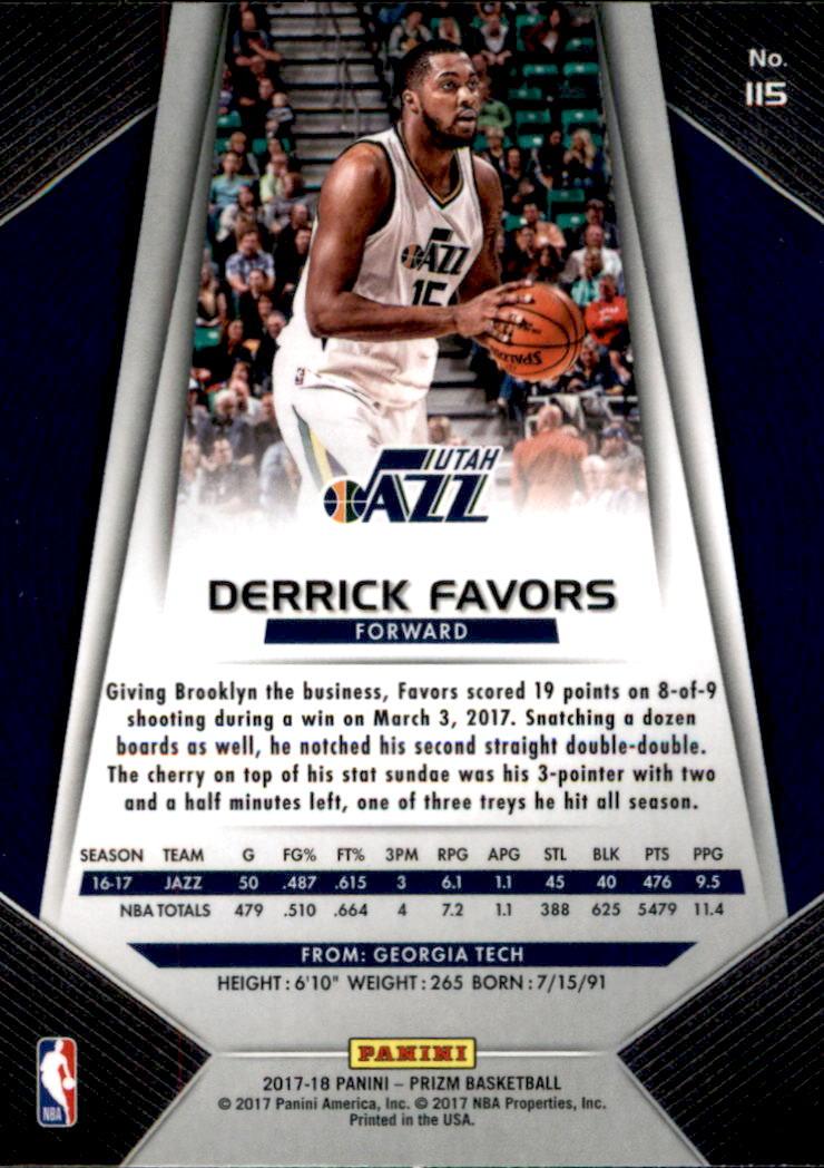2017-18 Panini Prizm #115 Derrick Favors back image
