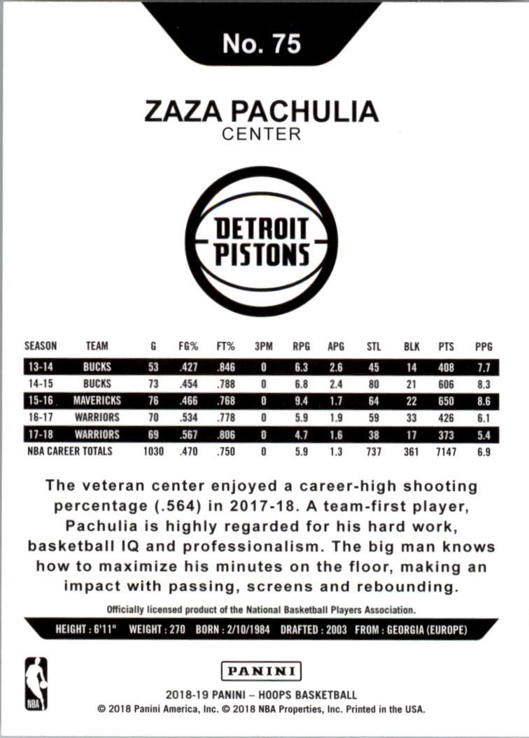 2018-19 Hoops #75 Zaza Pachulia back image