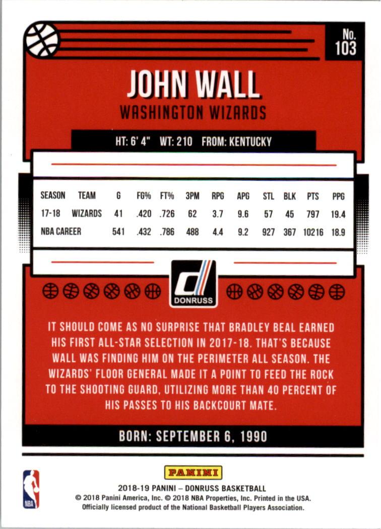 2018-19 Donruss #103 John Wall back image
