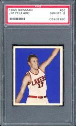 1948 Bowman #66 Jim Pollard RC