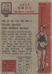 1957-58 Topps #26 Gene Shue DP RC back image