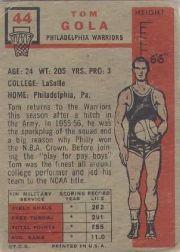 1957-58 Topps #44 Tom Gola DP RC back image