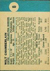1961-62 Fleer #8 Wilt Chamberlain RC back image