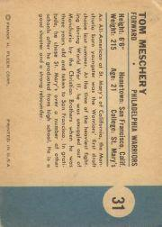1961-62 Fleer #31 Tom Meschery RC back image