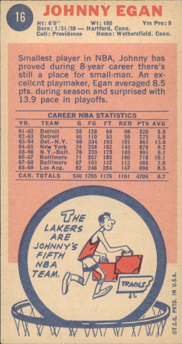 1969-70 Topps #16 Johnny Egan back image