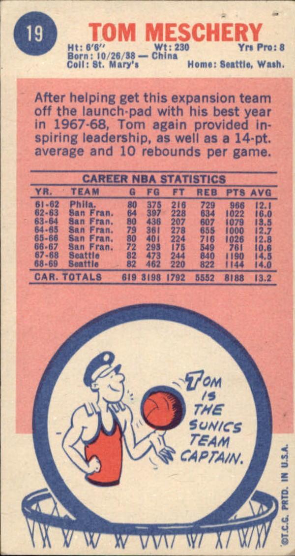 1969-70 Topps #19 Tom Meschery back image
