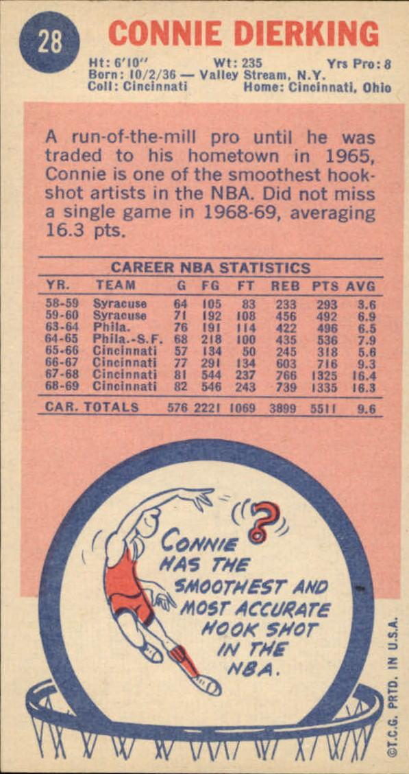 1969-70 Topps #28 Connie Dierking back image