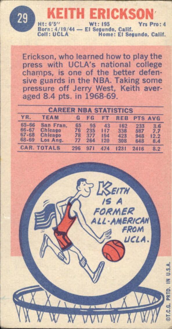 1969-70 Topps #29 Keith Erickson RC back image