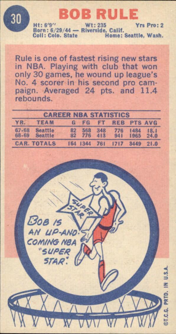 1969-70 Topps #30 Bob Rule RC back image