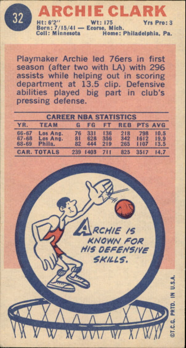 1969-70 Topps #32 Archie Clark RC back image