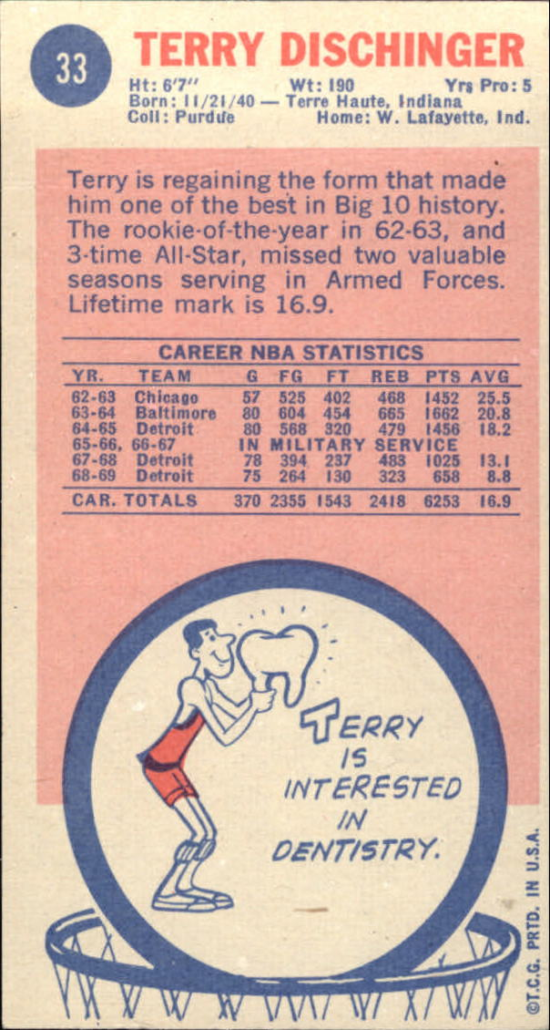 1969-70 Topps #33 Terry Dischinger RC back image