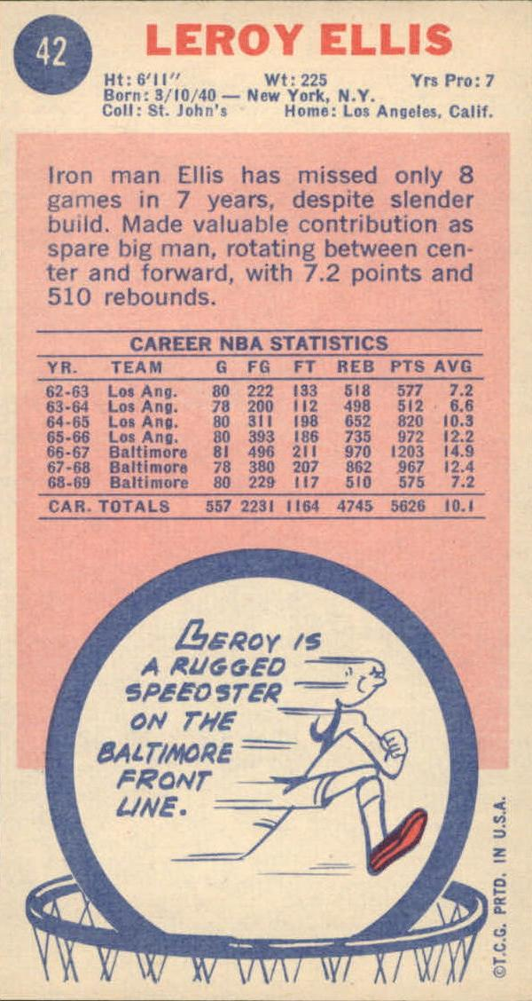1969-70 Topps #42 Leroy Ellis RC back image