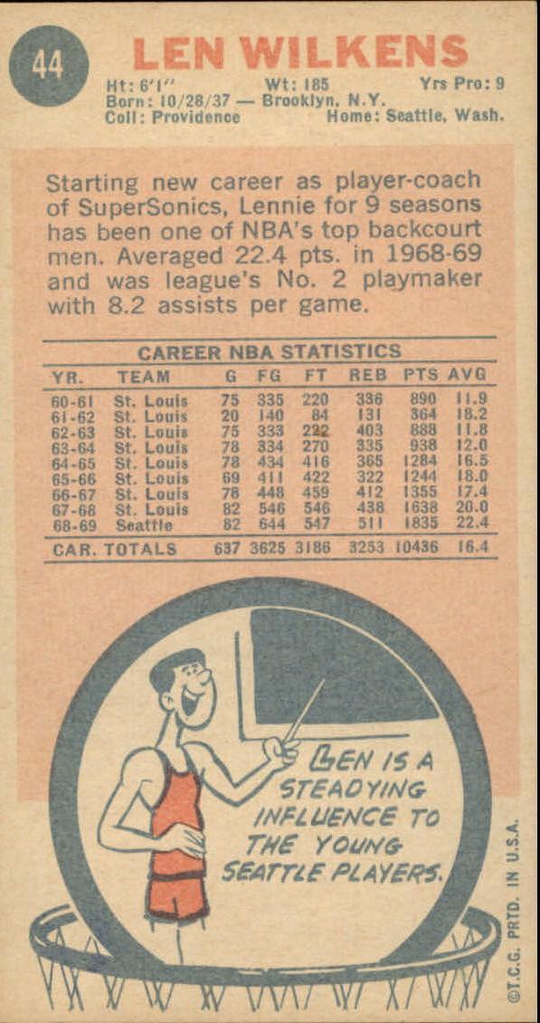 1969-70 Topps #44 Len Wilkens UER/(Misspelled Wilkins/on card back) back image