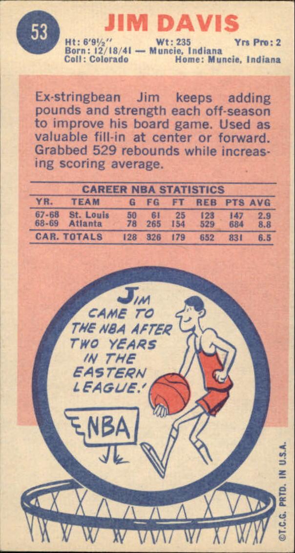 1969-70 Topps #53 Jim Davis back image